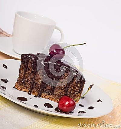 Free Chocolate Cake With Cherry Stock Image - 25667641