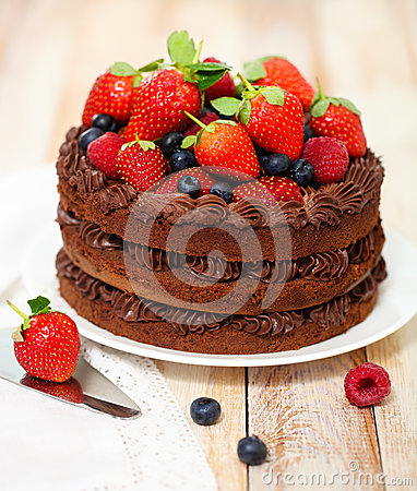 Free Chocolate Cake With Icing And Fresh Berry Royalty Free Stock Photography - 28383317