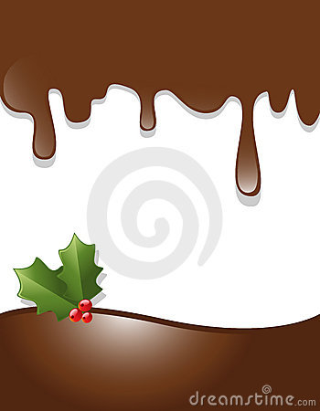 Vector chocolate drips border with christmas ornament