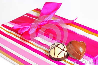 Chocolate candies and gift box
