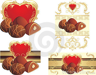 Chocolate candies with nuts to the Valentines day