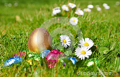 Chocolate candy Easter eggs wrapped in foil