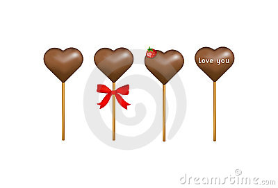 Chocolate candy hearts with a strawberry. Vector