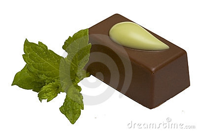 Chocolate  candy with mint, isolated