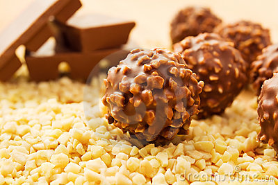 Chocolate candy with nuts