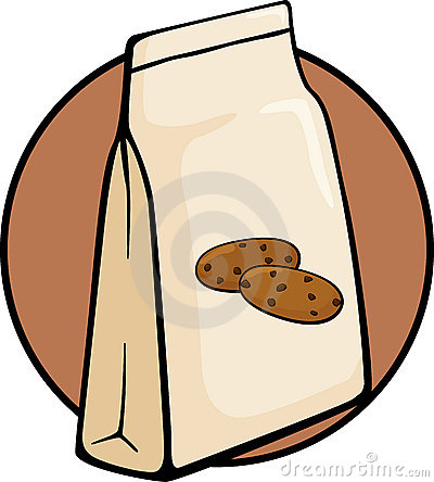 chocolate chip cookies bag vector illustration