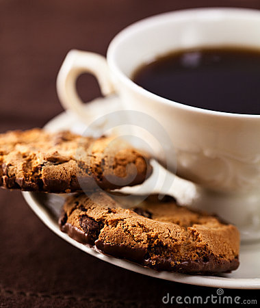 Chocolate chip cookies and a cup of coffee