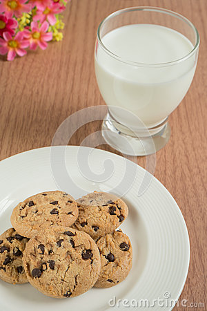 Chocolate chip cookies and glass of milk