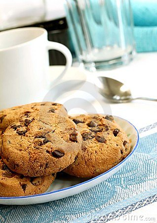 Free Chocolate Chip Cookies On Plate Stock Image - 15458461