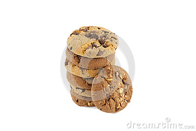 Chocolate chip cookies on a stack
