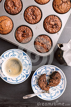 Free Chocolate Chip Muffins And Coffee Stock Images - 43198064