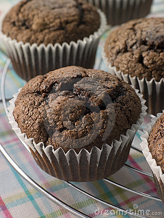 Free Chocolate Chip Muffins On A Cooling Rack Stock Photo - 6878670