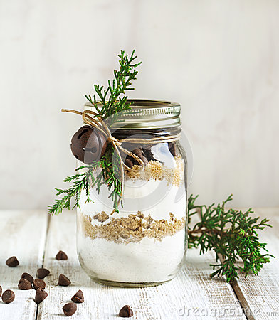 Free Chocolate Chips Cookie Mix For Christmas Gift Stock Photo - 63032740