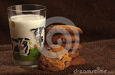 Chocolate chips cookies and milk