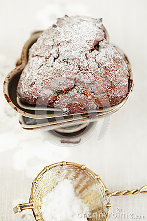 Chocolate chrismas muffin dusted sugar