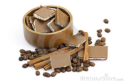 Chocolate, Cinnamon And Coffee Beans Royalty Free Stock Images - Image: 18859779