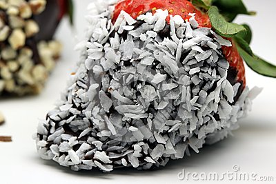 Chocolate coated strawberry with coconut