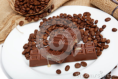 Chocolate and coffee beans.