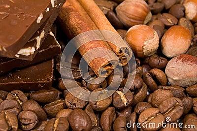 Chocolate, coffee, cinnamon  and hazel