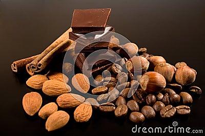 Chocolate, coffee , cinnamon and nuts