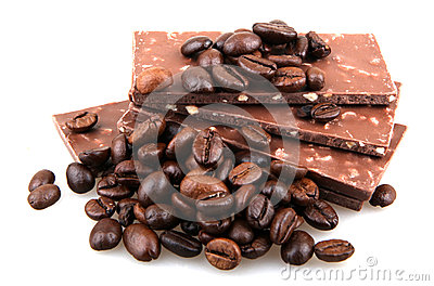 Chocolate with coffee on white background