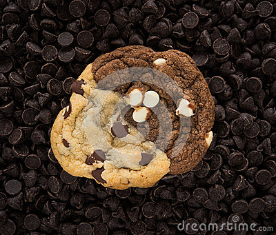 Chocolate cookie on chips