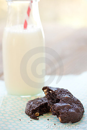 Chocolate cookie and milk