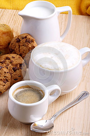 Chocolate Cookies With Coffee And Cappuccino Royalty Free Stock ...