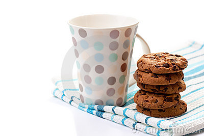 Chocolate cookies and cup
