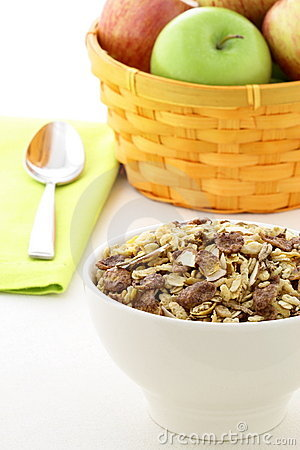 Chocolate cornflakes and almonds muesli breakfast.