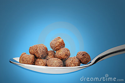 Chocolate cornflakes. A dry breakfast in a spoon.
