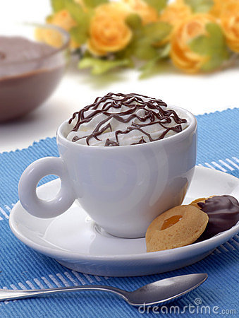 Chocolate cup and cookies.
