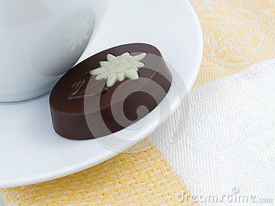 Chocolate, cup and yellow serviette