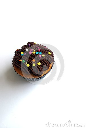 Chocolate cupcake with candy sprinkles