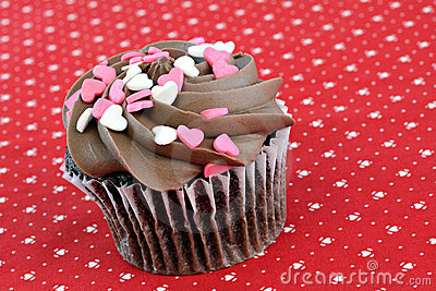 Chocolate Cupcake with Heart Sprinkles