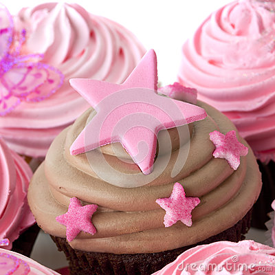 Chocolate Cupcake with Pink Stars