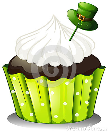 A chocolate cupcake with a white icing and a green hat