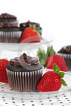 Free Chocolate Cupcake With Fresh Strawberry Royalty Free Stock Photography - 43367727