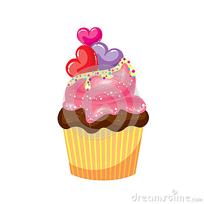 Free Chocolate Cupcake With Pink And White Cream. Cake With Colorful Hearts. Vector Illustration For A Card Or Poster, Print On Clothes Stock Photos - 85892183