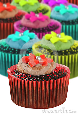 Chocolate cupcakes in colorful cups