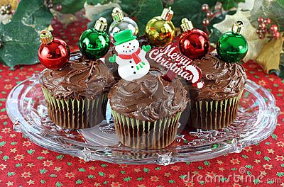 Chocolate Cupcakes decorated for Christmas