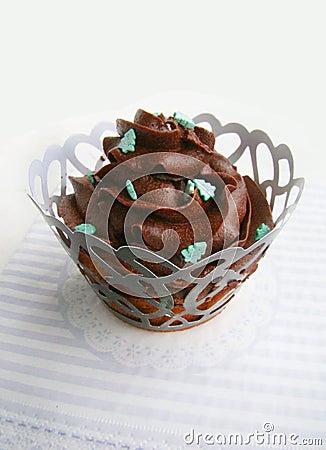 Free Chocolate Cupcakes With Chocolate Cream Stock Photos - 53948493