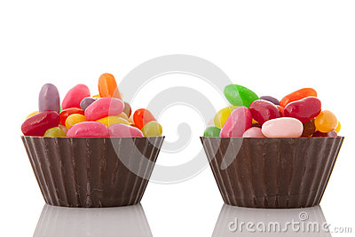 Chocolate cups jelly beans