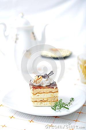 Chocolate dessert with tea
