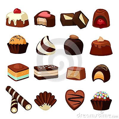 Free Chocolate Desserts. Illustrations Of Sweets And Candy Stock Image - 107724471