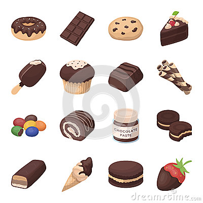 Chocolate desserts set icons in cartoon style. Big collection of chocolate desserts vector symbol stock illustration Vector Illustration