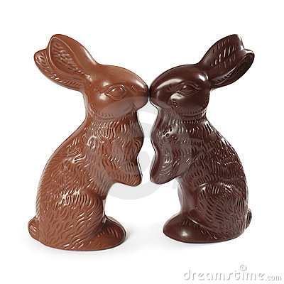 Free Chocolate Easter Bunnies Kissing Stock Image - 23857131