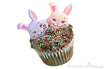 Chocolate Easter Cupcake with two bunnies