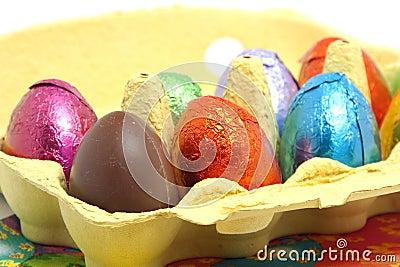 Chocolate easter eggs in carton box