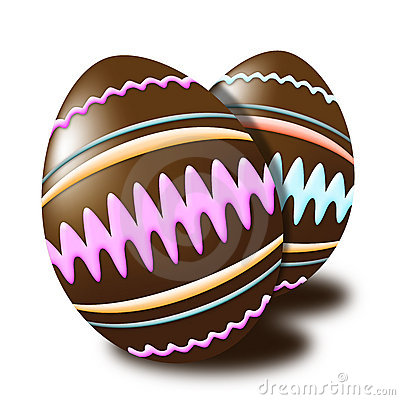 Chocolate Easter eggs decorated